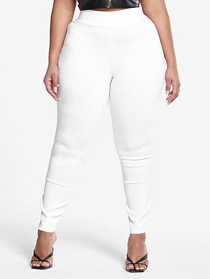 Plus Size The City White Pull-On Pants - Fashion To Figure