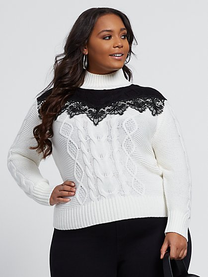 Plus Size Traci Lace Detail Cable Knit Sweater - Fashion To Figure
