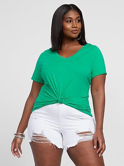Plus Size Valery Short Sleeve V-Neck Tee - Fashion To Figure