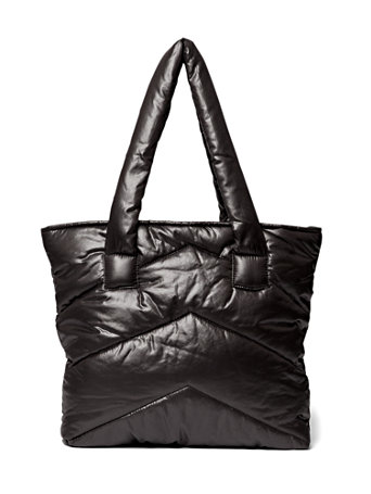 plus size black quilted puffer tote bag  fashion to