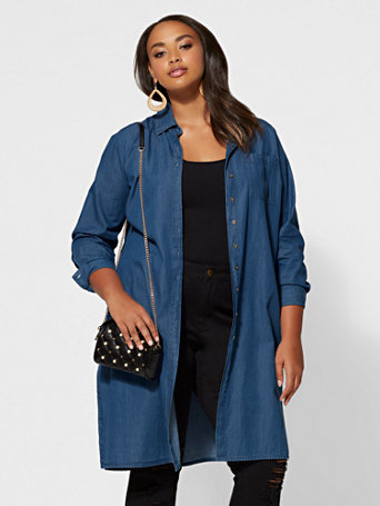 Plus Size Camryn Denim Duster | Fashion To Figure | FTF