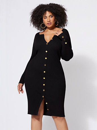 Devyn Button-Down Sweater Dress - Fashion To Figure