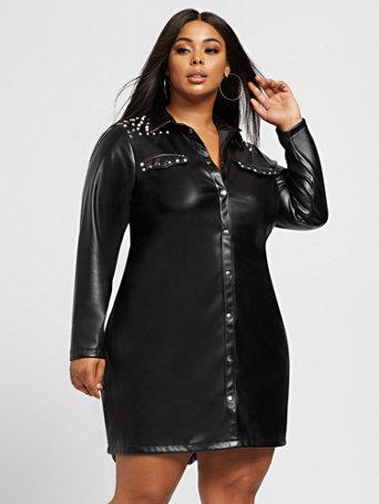 Domanique Faux-Leather Shirt Dress - Fashion To Figure