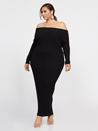 Edie Off Shoulder Maxi Sweater Dress in Black Size 2