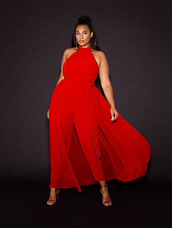 Evangeline Red Halter Jumpsuit - Gabrielle Union x FTF in Siren Red Size 0