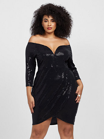 Gabriela Off Shoulder Sequin Dress in Black Size 0