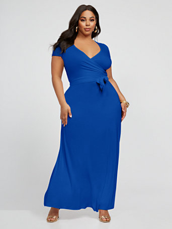 Grace Faux Wrap Maxi Dress in Blue Size 4