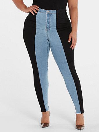 80s Jeans, Pants, Leggings | 90s Jeans High Rise Colorblock Raw Hem Skinny Jeans in Indigo Blue Wash Size 28 $69.95 AT vintagedancer.com