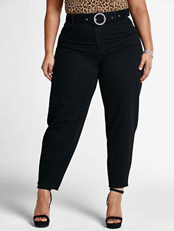 80s Jeans, Pants, Leggings High Rise Jean with Rhinestone Belt in Black Size 28 $29.98 AT vintagedancer.com