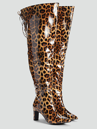 Buy WIDE shoes in 1920s, 1930s, 1940s, 1950s styles? Leopard Print Vinyl Thigh High Boots - NADIA X FTF in Brown Size 12 $129.95 AT vintagedancer.com