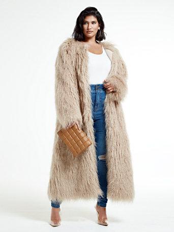 70s Jackets, Furs, Vests, Ponchos Shanice Ankle Length Faux Fur Coat in Beige Size 3 $172.46 AT vintagedancer.com
