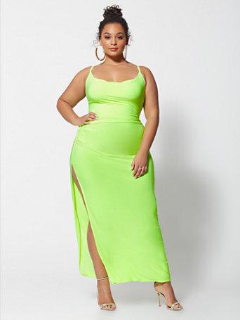 Stefani Neon Slip Maxi Dress - GREEN Size 0 - Womens Dresses