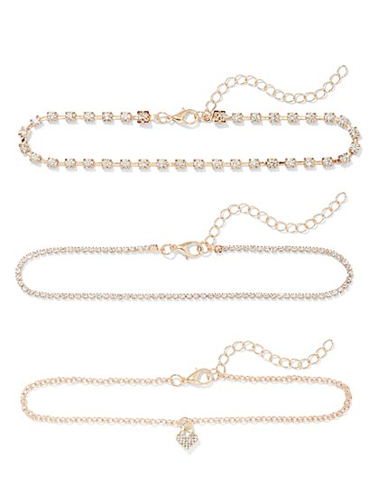 Plus Size 3 Piece Gold Anklet Set - Fashion To Figure