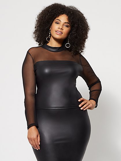 Plus Size 32.95 MESH SLV FAUX LTHR - Fashion To Figure