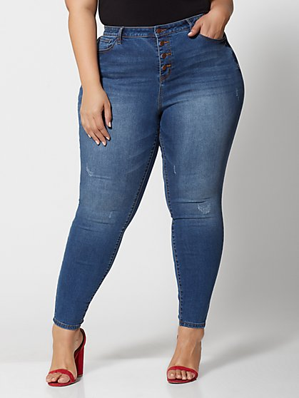 736e24231dd Plus Size 4 Button High-Rise Skinny Jeans - Tall Inseam - Fashion To Figure  ...