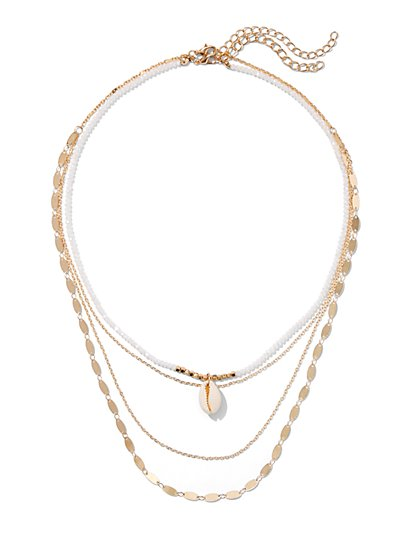 Plus Size 4-Layered Shell Necklace - Fashion To Figure