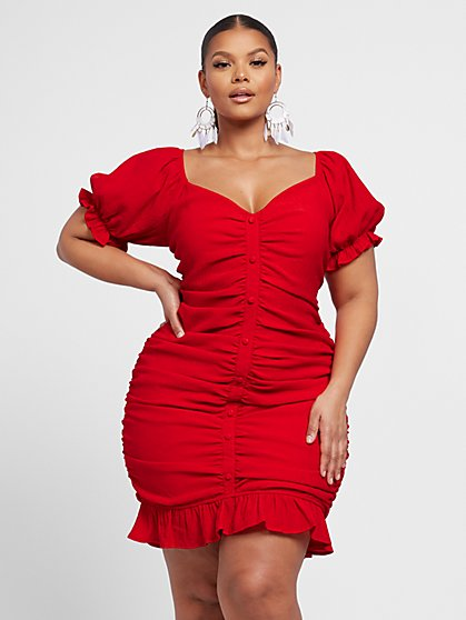 Plus Size 69.95 S/S RCHED FLNC DRSS - Fashion To Figure