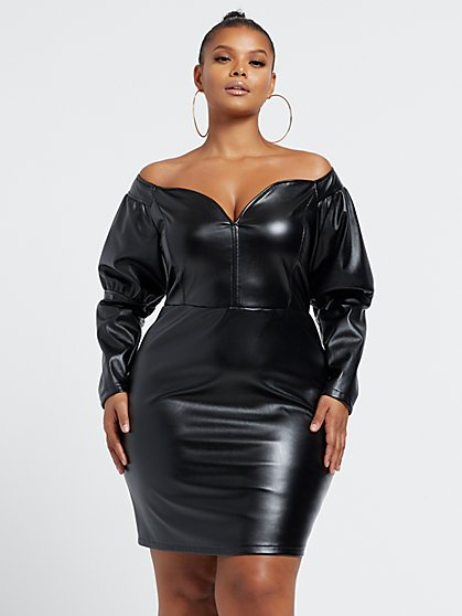 Plus Size 80s Baby - Off Shoulder Faux-Leather Dress - Fashion To Figure