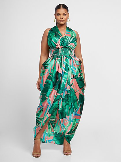 Plus Size 99.95 HALTER PALM DRESS - Fashion To Figure