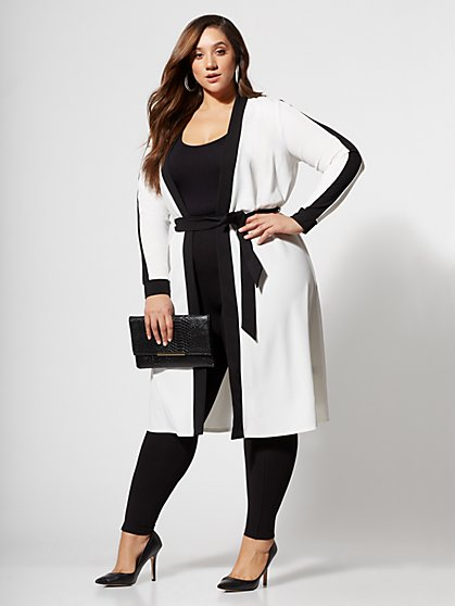 Plus Size Aahani Tie-Waist Duster - Fashion To Figure