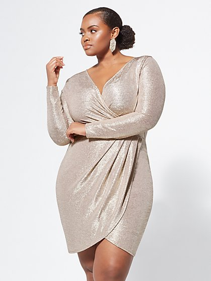 Plus Size Abbey Gold Wrap Dress - Fashion To Figure