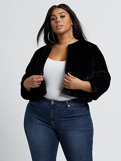 Plus Size Abbie Faux-Fur Chubby Jacket - Fashion To Figure