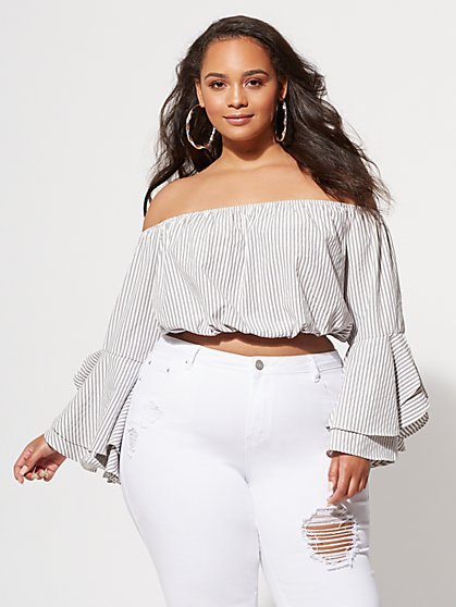 Plus Size Abby Bell-Sleeve Blouse - Fashion To Figure