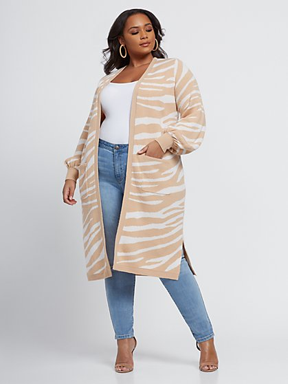 Plus Size Abby Zebra Print Cardigan Sweater - Fashion To Figure