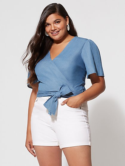 Plus Size Abigail Denim Wrap Top - Fashion To Figure