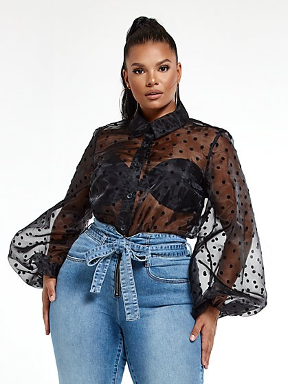 Plus Size Abigail Dot Print Blouse - Fashion To Figure