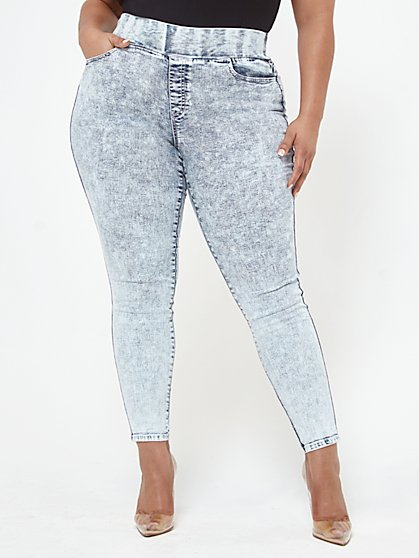 Plus Size Acid High-Rise Jeggings - Short Inseam - Fashion To Figure