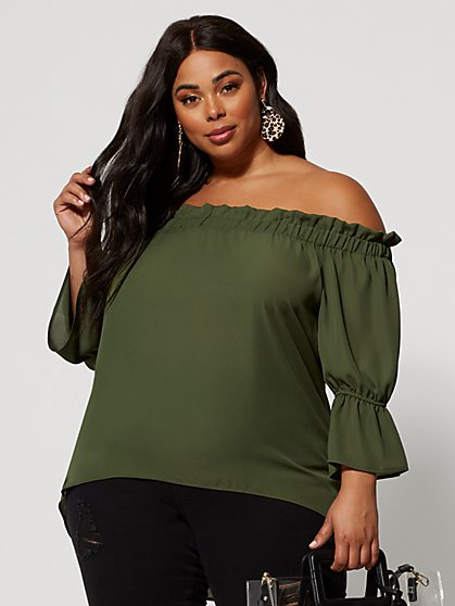Plus Size Ada Ruffled Off Shoulder Top - Fashion To Figure