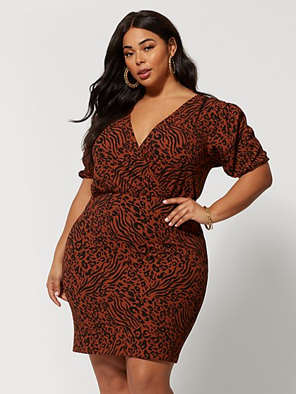 Plus Size Adalia Animal Print Puff Sleeve Dress - Fashion To Figure