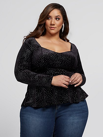 Plus Size Adalia Glitter Velvet Peplum Top - Fashion To Figure