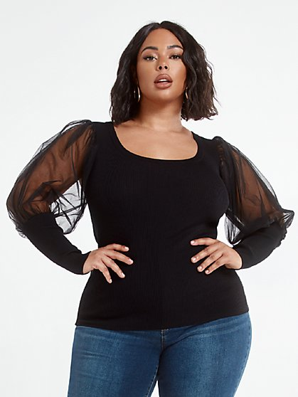 Plus Size Adele Mixed Media Sweater with Chiffon Lantern Sleeves - Fashion To Figure