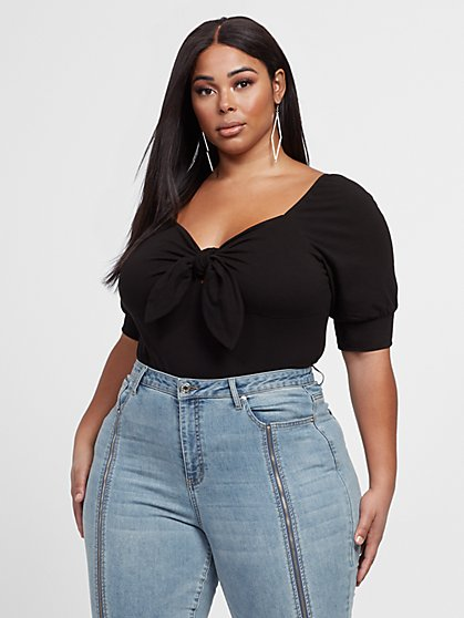 Plus Size Adeline 3/4 Sleeve Tie Front Top - Fashion To Figure