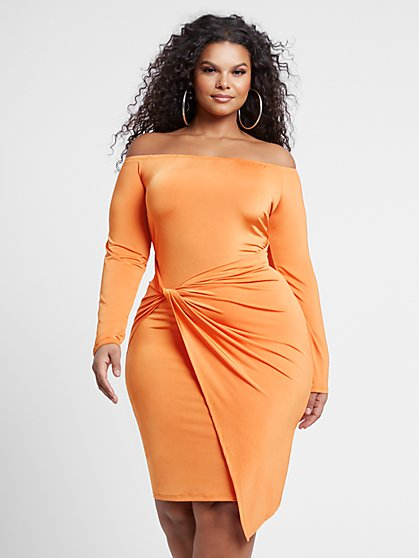 Plus Size Adelle Drape Front Bodycon Dress - Fashion To Figure