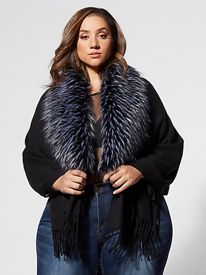 Plus Size Adilyn Ruana With Faux-Fur Trim - Fashion To Figure