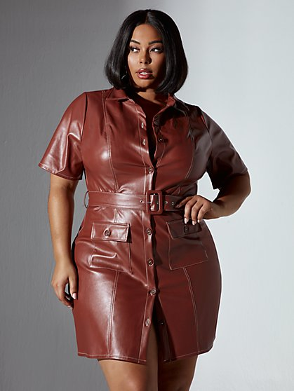 Plus Size Adina Button Front Faux Leather Dress - Fashion To Figure