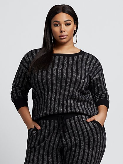 Plus Size Adina Metallic Stripe Sweater - Fashion To Figure