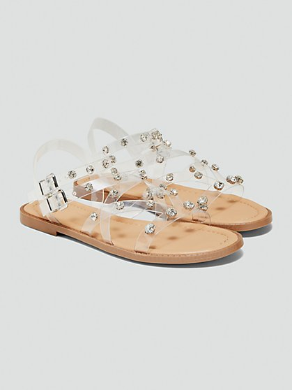 Plus Size Adira Clear Strappy Sandals with Rhinetones - Fashion To Figure