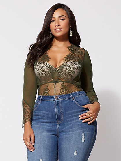 Plus Size Adriana Lace Lingerie Bodysuit - Fashion To Figure