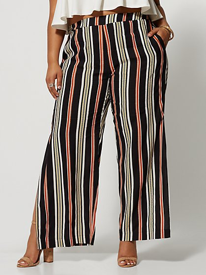 Plus Size Adrie Striped Wide Leg Pants - Fashion To Figure