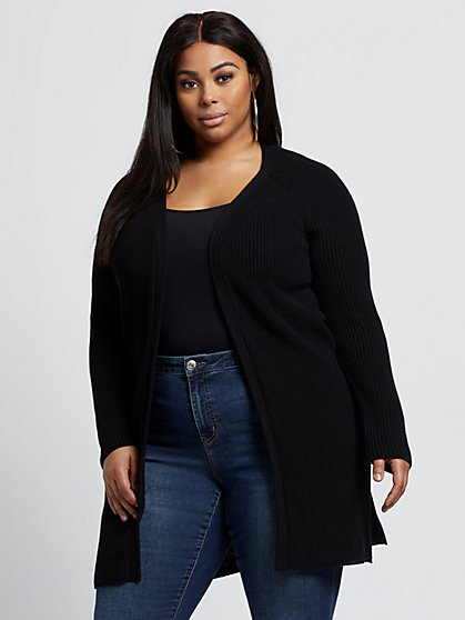 Plus Size Aimee Open-Front Cardigan Sweater - Fashion To Figure