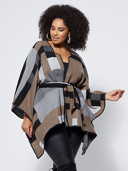 Plus Size Ainsley Colorblock Ruana - Fashion To Figure