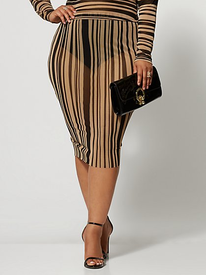 Plus Size Ainsley Mesh Striped Pencil Skirt - Fashion To Figure