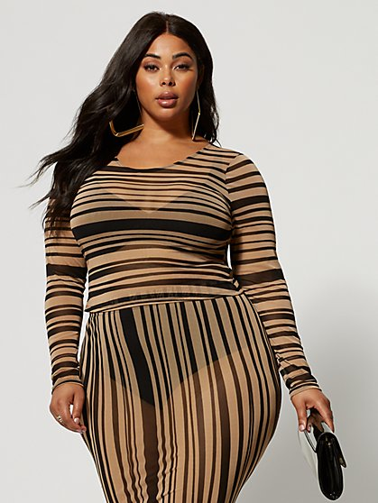 Plus Size Ainsley Striped Mesh Top - Fashion To Figure
