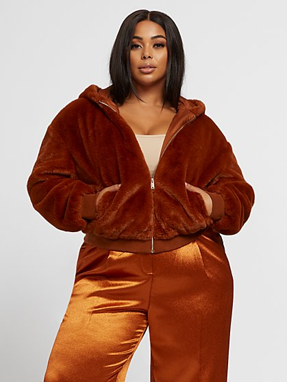 Plus Size Aisha Faux-Fur Bomber Jacket - Fashion To Figure