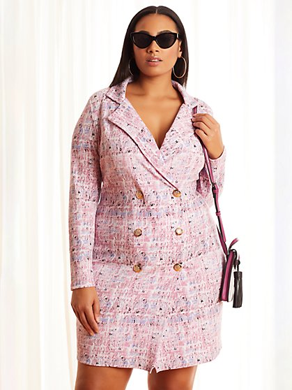 Plus Size Aisha Pastel Blazer Dress - Fashion To Figure
