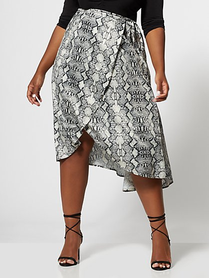 Plus Size Aja Snake Wrap Skirt - Fashion To Figure